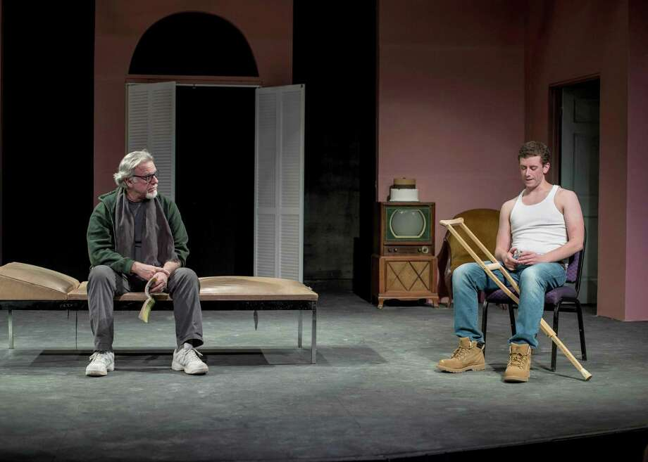 """Big Daddy (Will Jeffries) confronts Brick (James Wilding) about his drinking in """"Cat on a Hot Tin Roof,"""" on stage at Brookfield Theatre For the Arts through Saturday, March 18. Photo: Stephen Cihanek / Contributed Photo / Stephen Cihanek   www.cihanek.com"""
