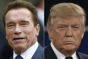 """(FILES) This files combination of pictures created on January 6, 2017 shows recent pictures of US actor and former governor of California Arnold Schwarzenegger (L) and US President Donald Trump. Arnold Schwarzenegger confirmed on March 3, 2017 that he is terminating his time on """"The New Celebrity Apprentice"""" after blaming President Donald Trump's continued involvement for its poor ratings. The 69-year-old actor -- famous for his catchphrase """"I'll be back"""" -- had earlier told entertainment magazine Empire he had no plans to return to the show after his bebut season, and would decline even if asked by creator Mark Burnett. """"I loved every second of working with NBC and Mark Burnett. Everyone -- from the celebrities to the crew to the marketing department -- was a straight 10, and I would absolutely work with all of them again on a show that doesn't have this baggage,"""" he confirmed in a statement circulated to US media. Schwarzenegger's representatives in Los Angeles did not immediately respond to a request for comment.   / AFP PHOTO / THOMAS SAMSON AND Paul J. RichardsTHOMAS SAMSON,PAUL J. RICHARDS/AFP/Getty Images"""