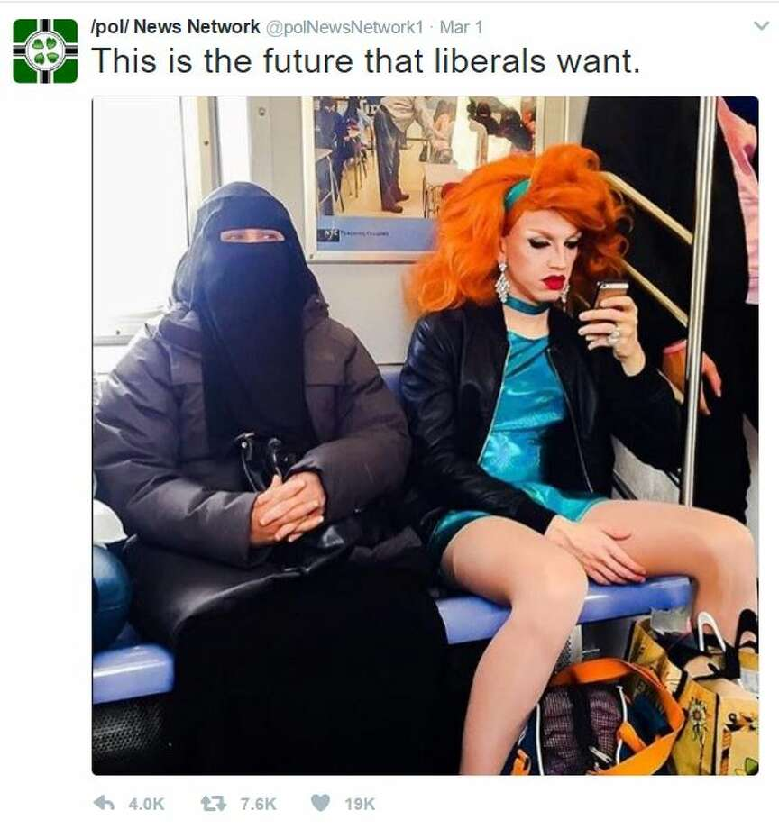 """This is the future liberals want.Twitter user @polNewsNetwork1Keep clicking for morehilarious clap backs reacting to this photo of a Muslim woman and a drag queen sitting next to each other captioned """"This is the future that liberals want"""" tweet. Photo: Twitter"""