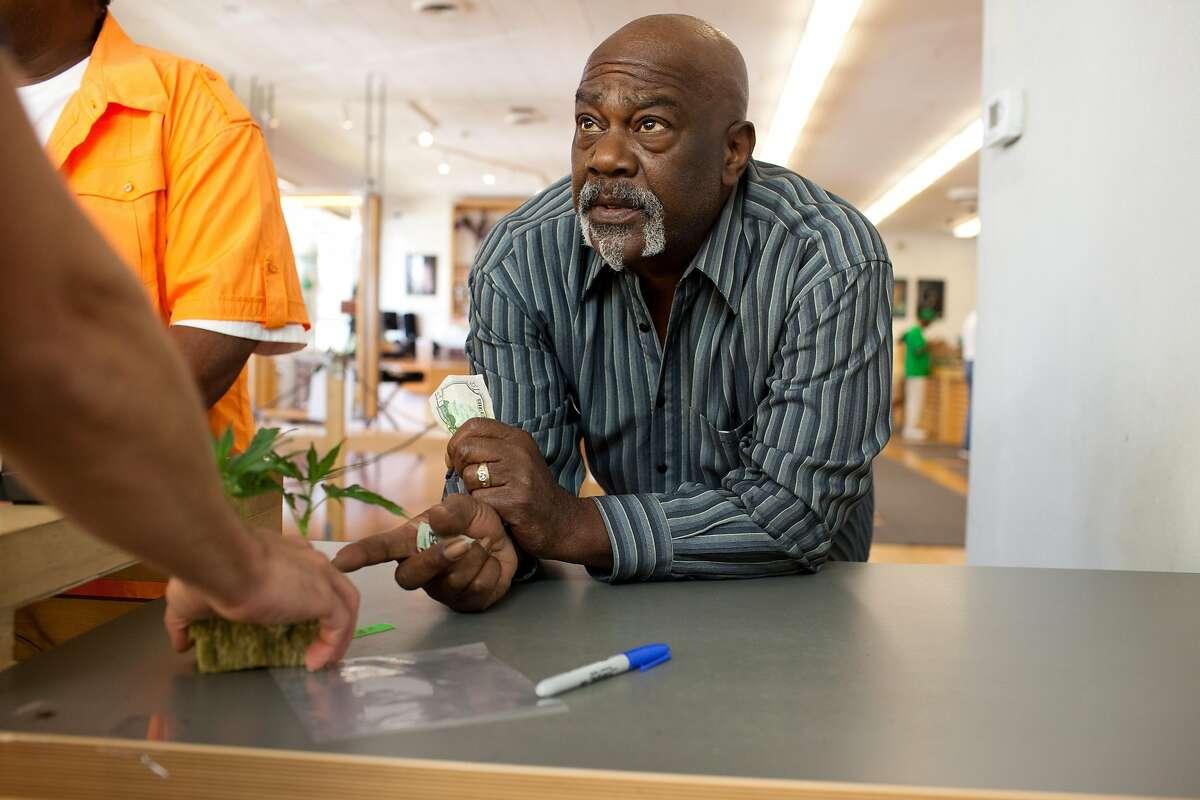 John Dickson decides what strain of medical marijuana clone to buy at Harborside Health Center in Oakland, Calif. on Thursday, June 5, 2014.