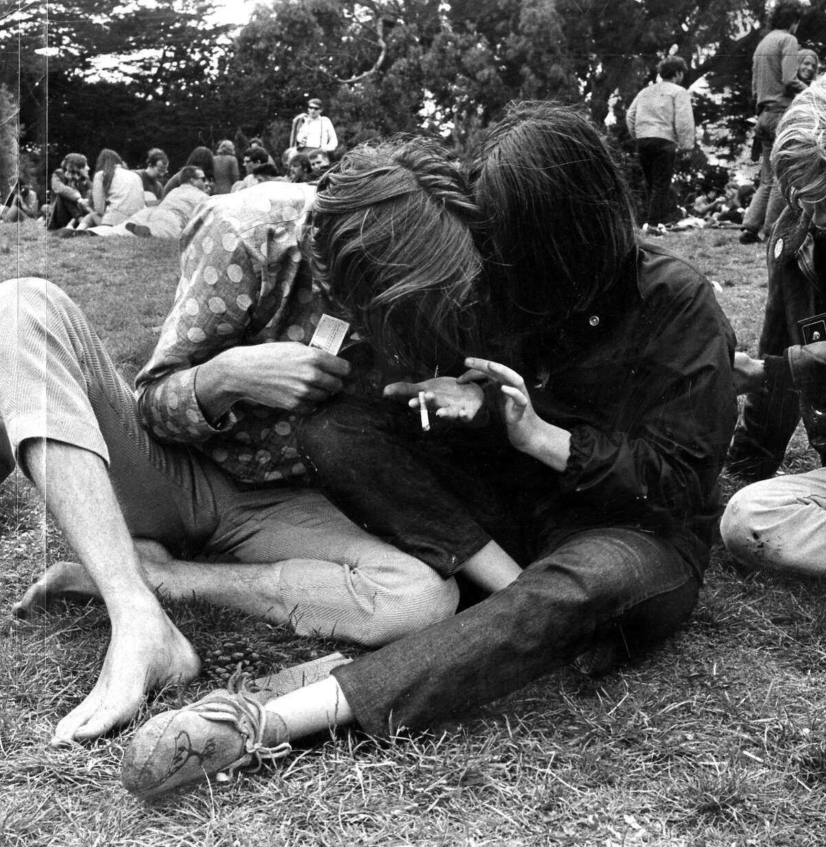 Dope Scene big Business in the Haight. Hippie Hill [Golden Gate Park] turn on. Times-Post Service October 31, 1967