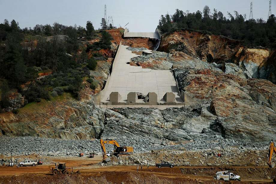 The damaged main spillway of the Oroville Dam is seen on Friday, March 3, 2017, in Oroville, Calif. Photo: Santiago Mejia, The Chronicle