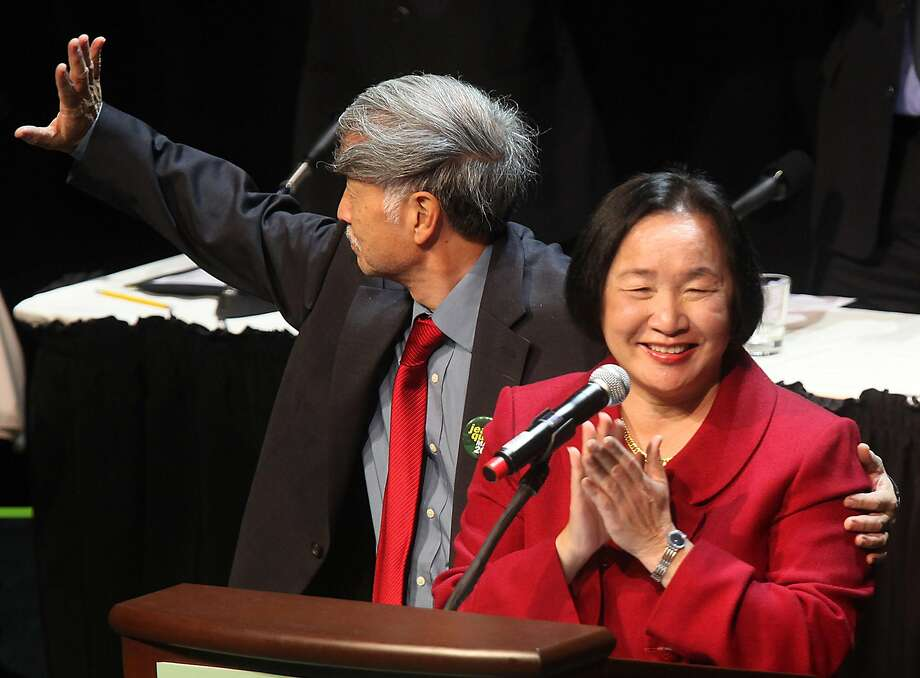 Jean Quan and her husband, Dr. Floyd Huen, at her mayoral inauguration in January 2011 at the Fox Theater in Oakland. Photo: Liz Hafalia, The Chronicle
