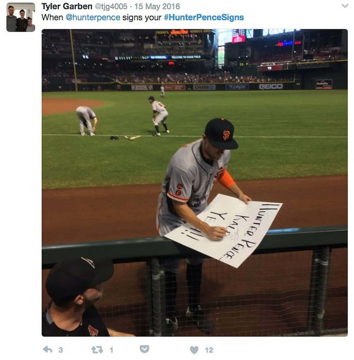 Hunter Pence, who inspired hundreds of quirky fan signs and #hunterpencesigns tweets since joining the Giants, autographs one of the signs at AT&T Park. See some of the best messages for the right fielderin the following gallery.