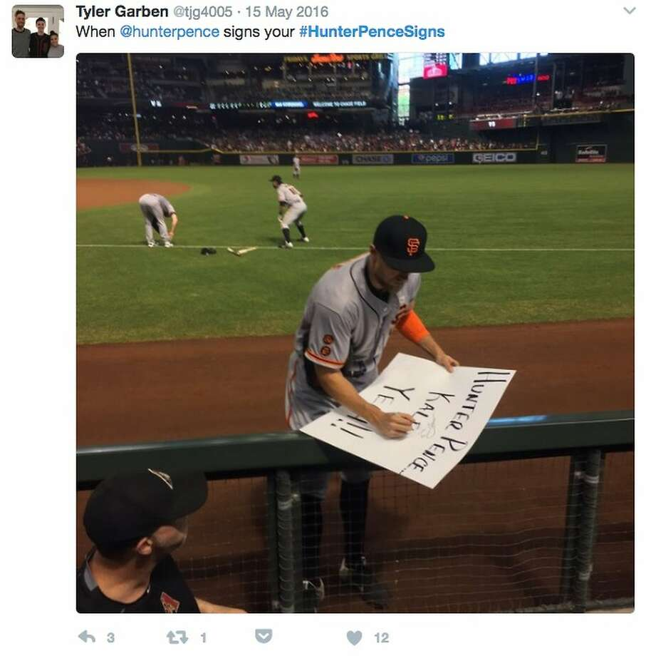 Hunter Pence, who inspired hundreds of quirky fan signs and #hunterpencesigns tweets since joining the Giants, autographs one of the signs at AT&T Park. See some of the best messages for the right fielderin the following gallery. Photo: Twitter