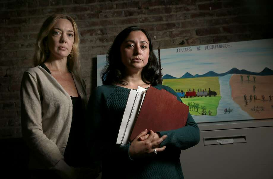 Senior social worker Erin Maxwell (left) and senior staff attorney Cecilia Candia at the offices of Legal Services for Children in San Francisco. Photo: Michael Macor, The Chronicle