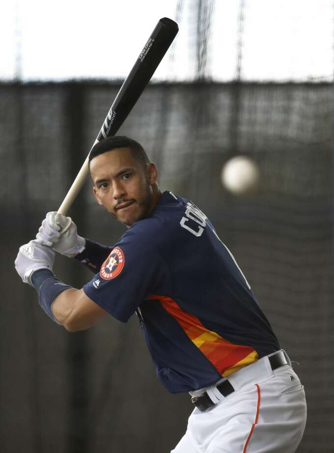 Houston Astros shortstop Carlos Correa (1) takes batting practice in the batting cages during spring training at The Ballpark of the Palm Beaches, in West Palm Beach, Florida, Tuesday, February 21, 2017. ( Karen Warren / Houston Chronicle ) Photo: Karen Warren/Houston Chronicle