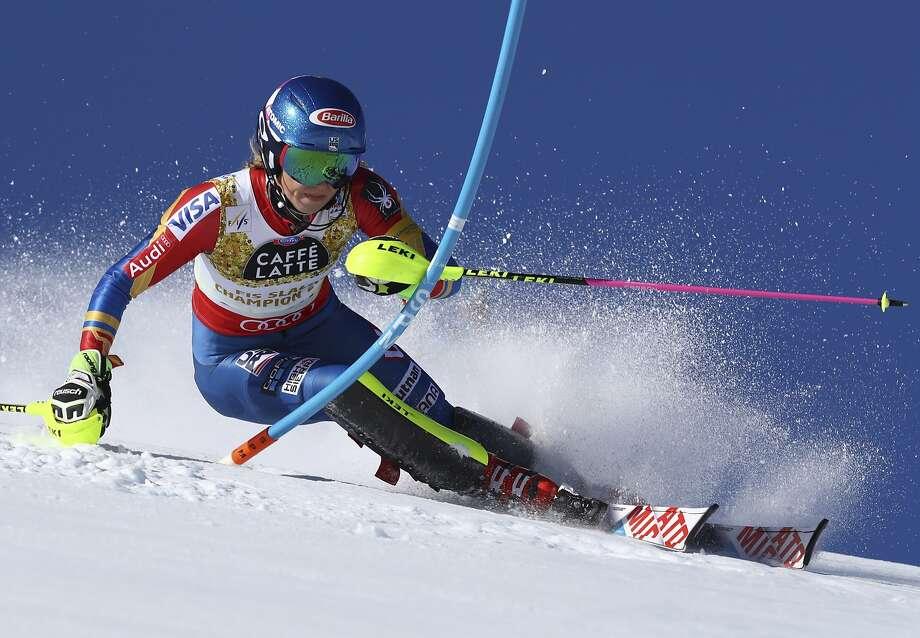 United States's Mikaela Shiffrin competes during a women's slalom, at the alpine ski World Championships, in St. Moritz, Switzerland. Photo: Alessandro Trovati, Associated Press