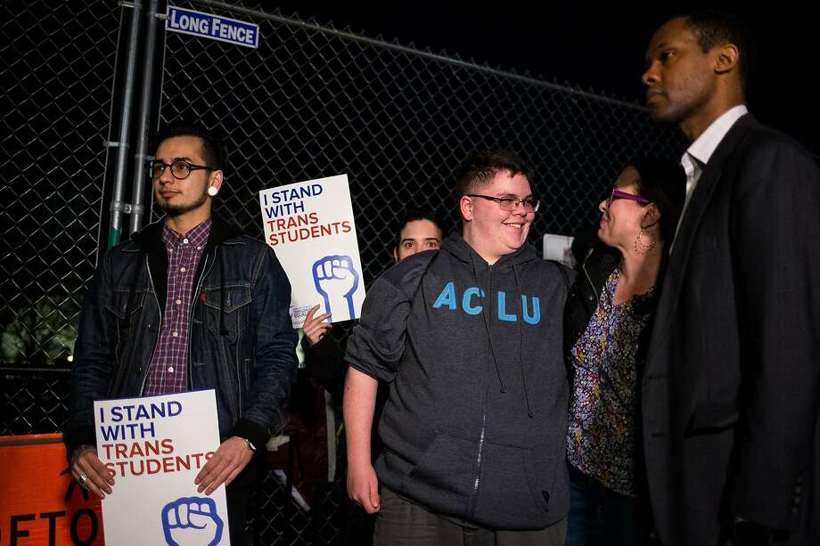 Transgender rights activist Gavin Grimm (center) protests outside the White House last month. Photo: AL DRAGO, NYT
