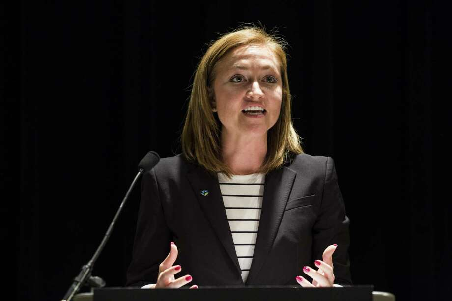 San Antonio Economic Development Foundation CEO and President Jenna Saucedo-Herrera says the foundation is trying to diversify from call centers. Photo: BRITTANY GREESON /San Antonio Express-News / © 2015 San Antonio Express-News