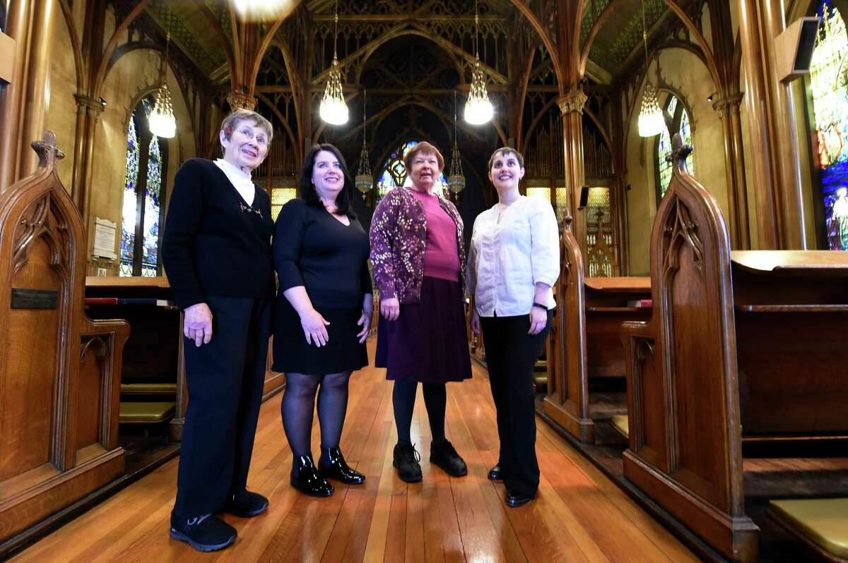 Anna Varney, organizer of the Women of St. Paul's Lenten Suppers, right stands with her associates; Nina Pattison, left, Caroline Melkonian, Harriet Warnock-Graham at St Paul's Episcopal Church on Thursday, March 2, 2017, in Troy, N.Y. (Skip Dickstein/Times Union)
