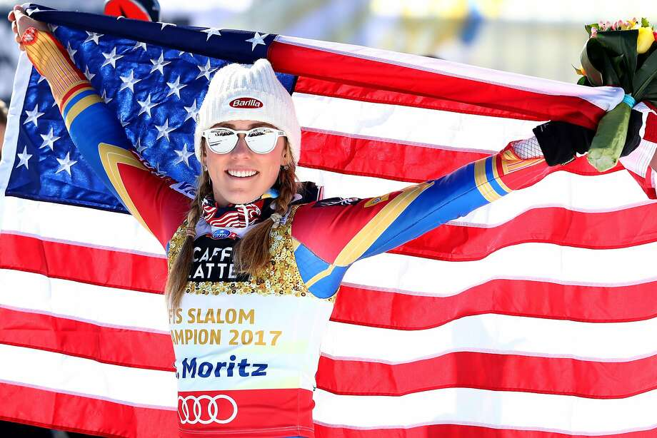 Mikaela Shiffrin celebrates winning gold in women's slalom at the World Ski Championships. Photo: Alexander Hassenstein, Getty Images