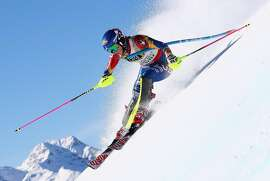 ST MORITZ, SWITZERLAND - FEBRUARY 18:  Mikaela Shiffrin of the United States competes in the Women's Slalom during the FIS Alpine World Ski Championships on February 18, 2017 in St Moritz, Switzerland.  (Photo by Alexander Hassenstein/Getty Images)