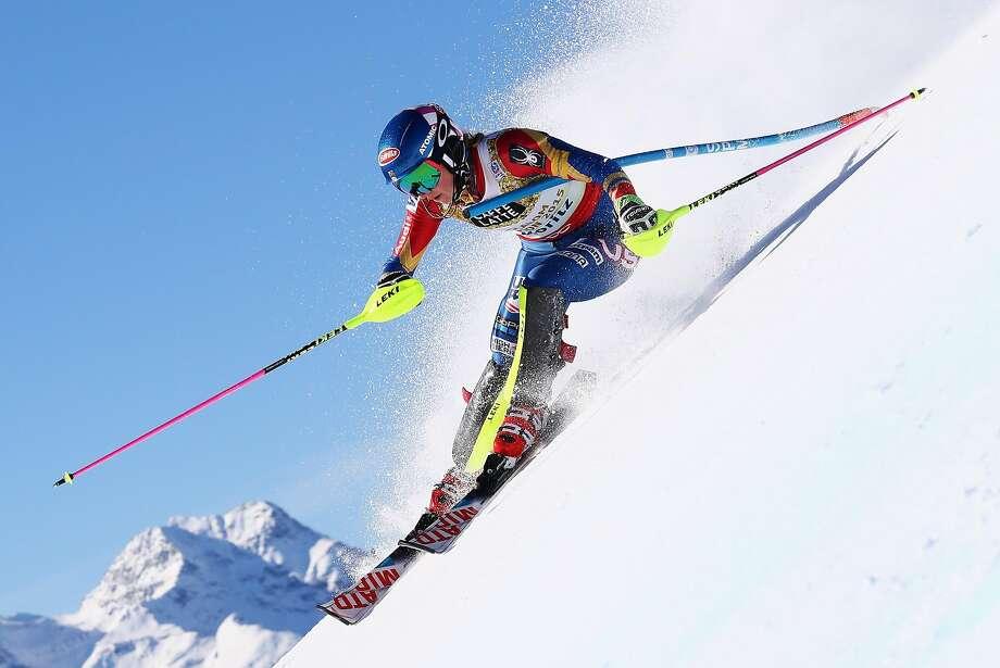 Mikaela Shiffrin competes in the women's slalom during the FIS Alpine World Ski Championships in St. Moritz, Switzerland. Photo: Alexander Hassenstein, Getty Images