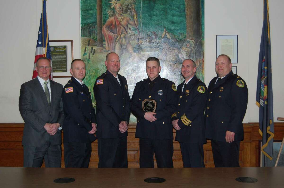 Seen from left, are Saratoga Springs Lt. Bob Jillson, Lt. Shane Crooks, Lt. Tom Mitchell, Officer Wade Collins, Chief Greg Veitch, Lt. Sean Briscoe. (Provided photo)