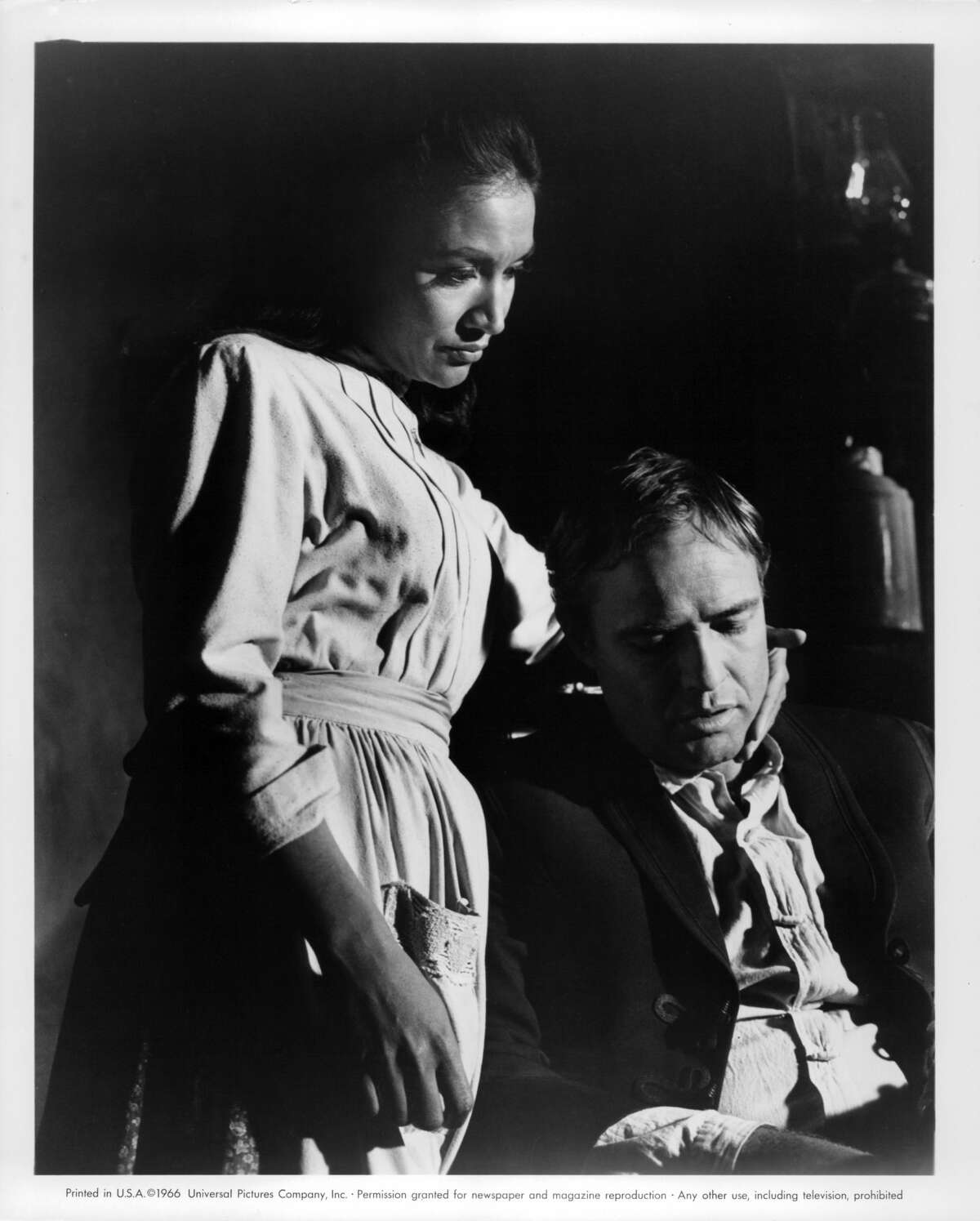 Miriam Colon attempts to give Marlon Brando solace in a scene from the film 'The Appaloosa', 1966. (Photo by Universal/Getty Images)