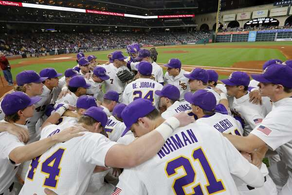 The LSU Tigers huddle before taking the field during the NCAA baseball game between the LSU Tigers and the TCU Horned Frogs at Minute Maid Park in Houston, TX on Friday, March 3, 2017.