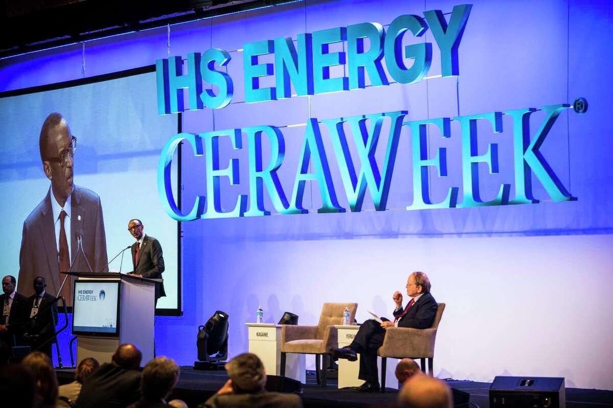 Rwandan President Paul Kagame speaks at IHS Energy CERAWeek at the Hilton Americas on Thursday, Feb. 25, 2016, in Houston. ( Brett Coomer / Houston Chronicle )
