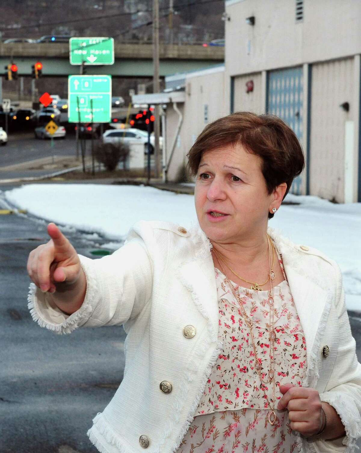 Derby Mayor Anita Dugatto stands in front of the former Lifetouch building at 90 Main Street in Derby, Conn. on Wednesday Feb. 22, 2017. A Shelton developer proposed to the Derby P&Z committee in making the former Lifetouch building the gateway to a redeveloped Main Street. He suggested putting a hotel, or a community college and manufacturing plant on the site which is across from Home Depot.