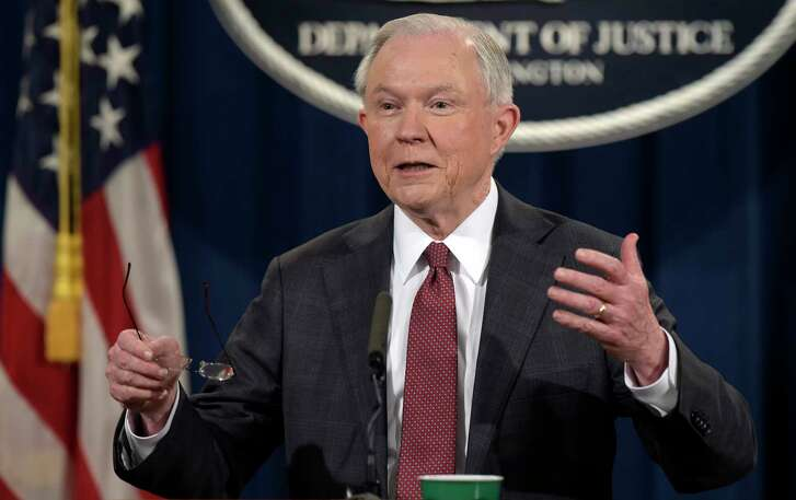 Attorney General Jeff Sessions speaks during a news conference at the Justice Department Thursday, March 2, 2017, in Washington, D.C. (AP Photo/Susan Walsh)