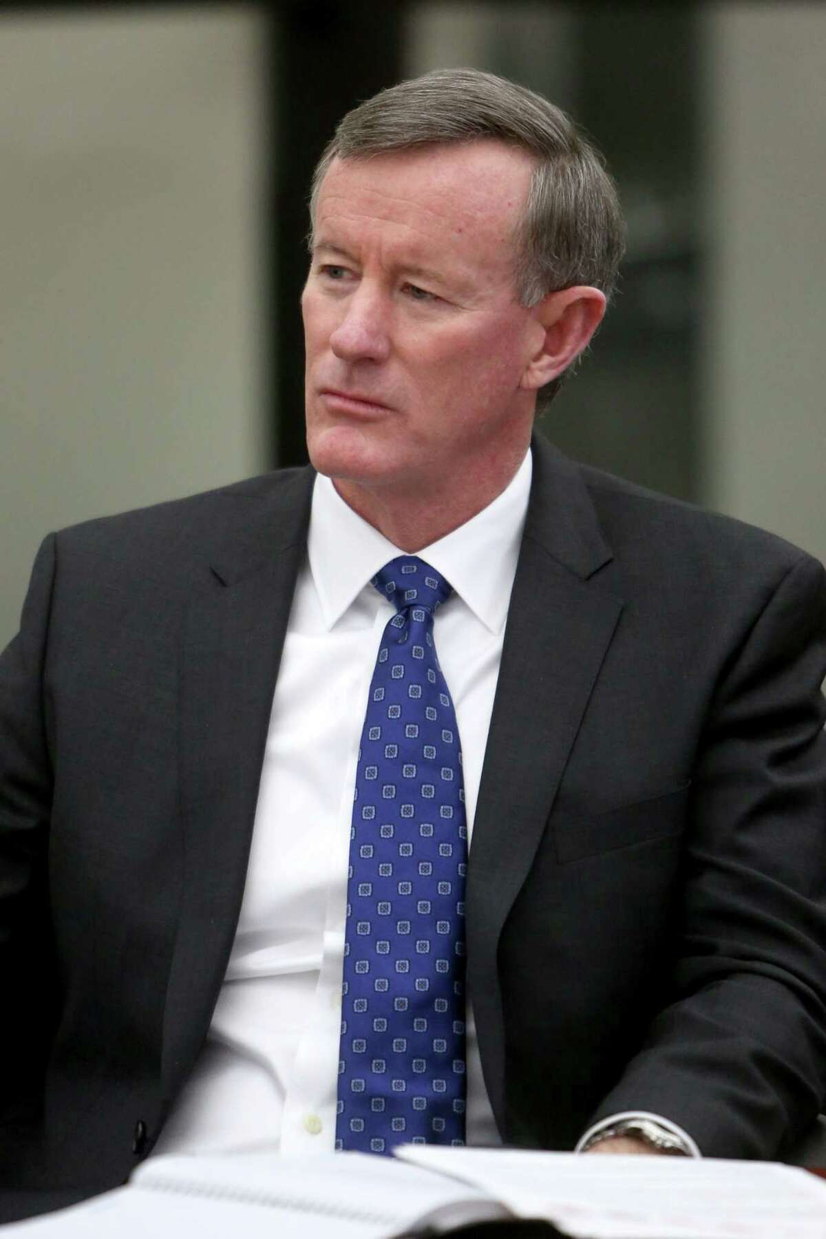University of Texas Systems Chancellor William McRaven, in this 2015 photo, meets with the Chronicle's editorial board at the Houston Chronicle. (Gary Coronado / Houston Chronicle )