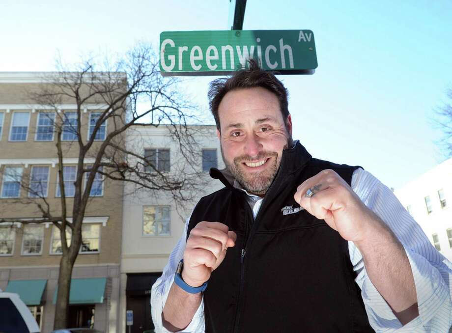 """Greenwich native and Former WWE professional wrestler Pete Gasparino who wrestled under the name of Pete Gas and was part of the Mean Street Posse, strikes a pose on Greenwich Avenue, Greenwich, Conn., Thursday, March 2, 2017. Gasparino has written a book """"Looking at the Lights: My Path from Fan to a Wrestling Heel """" about his life as a professional wrestler. Photo: Bob Luckey Jr. / Hearst Connecticut Media / Greenwich Time"""