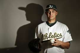 This is a 2017 photo of starting pitcher Sean Manaea of the Oakland Athletics baseball team poses for a portrait. This image reflects the Athletics active roster as of Wednesday, Feb. 22, 2017, when this image was taken. (AP Photo/Chris Carlson)