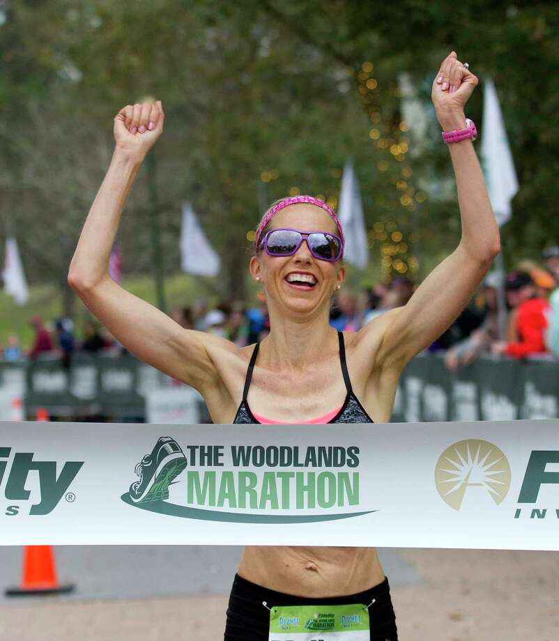 Melissa Hopper, of Cypress, finished first in the women's full-marathon portion of the during The Woodlands Marathon Saturday, March 4, 2017, in The Woodlands. Hopper finished third overall in last year's race. Photo: Jason Fochtman, Staff Photographer / © 2017 Houston Chronicle