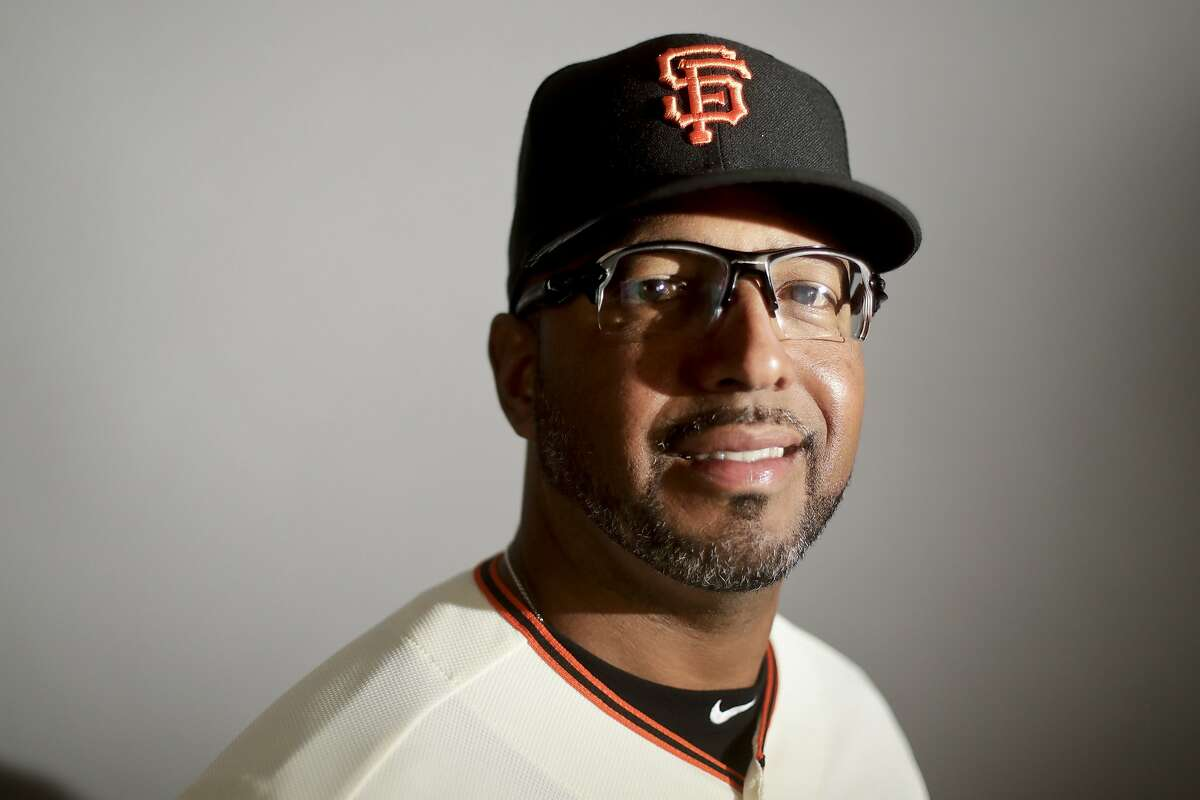 This is a 2017 photo of first base coach Jose Alguacil of the San Francisco Giants baseball team poses for a portrait. This image reflects the Giants active roster as of Monday, Feb. 20, 2017, when this image was taken. (AP Photo/Chris Carlson)