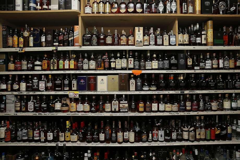 Save-More Market's liquor shelves. Photo: Liz Hafalia, The Chronicle