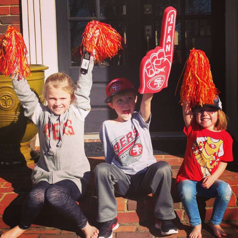 Kyle Shanahan's children (from left) Stella age 9, Carter age 7 and Lexi age 4 celebrate their father's new position as Head Coach of the San Francisco 49ers. Photo: Shanahan Family / Shanahan family