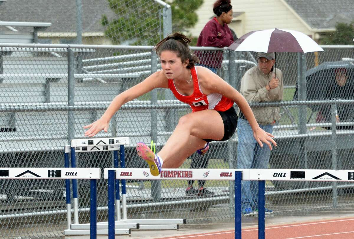 The Katy team of Gabby Gust, Ashley Gowen, Mikala Lemelle, and Julia Simms took second place in the Shuttle Hurdle Relay at the Katy ISD Bubba Fife Relays on March 4, 2017 at the Tompkins High School, Katy, TX.