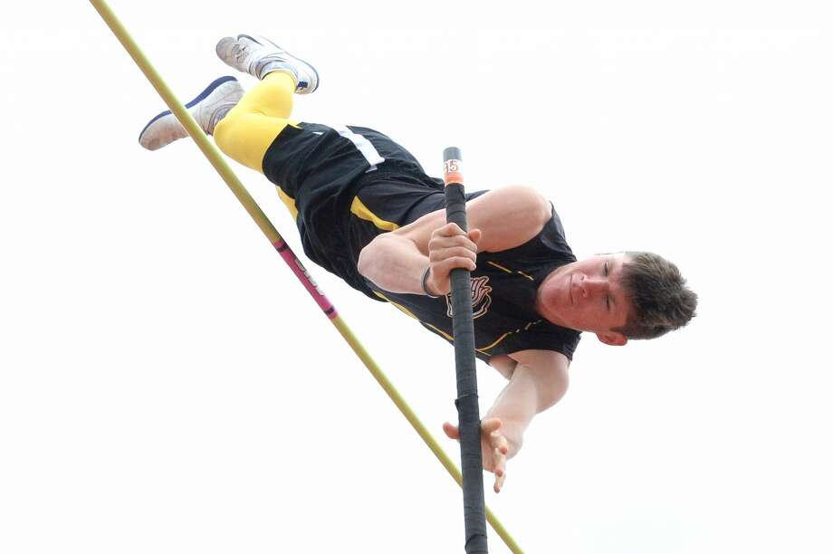 "Clayton Fritsch of Sealy HS takes first place in the pole vault by clearing a height of 15'-6"" at the Katy ISD Bubba Fife Relays on March 4, 2017 at the Tompkins High School, Katy, TX. Photo: Craig Moseley/Houston Chronicle"