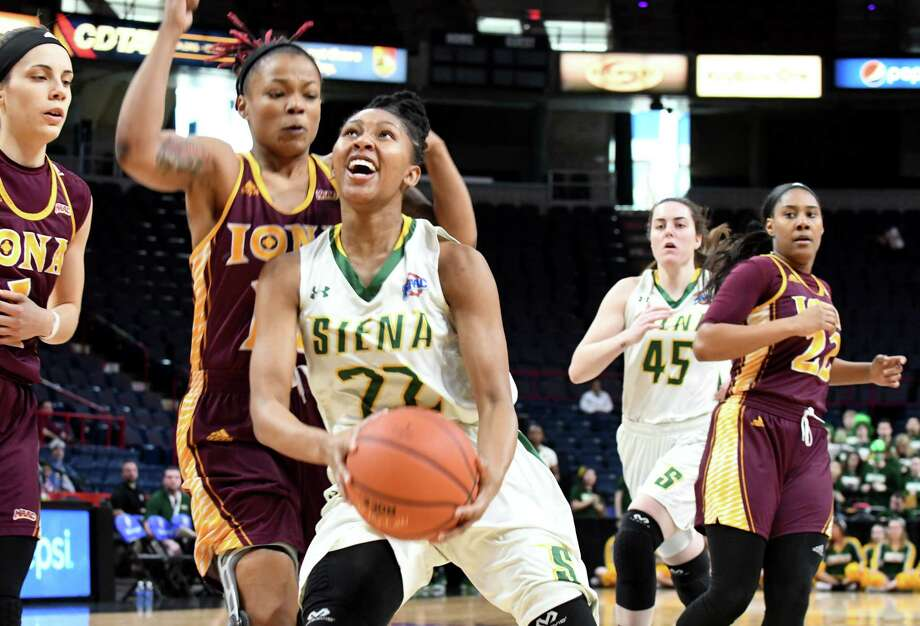 Deja Rawls of Siena drives to the net during the first half against Iona at the MAAC Tournament on Saturday afternoon, March 4, 2017, at the Times Union Center in Albany, N.Y. (Will Waldron/Times Union) Photo: Will Waldron / 20039855A