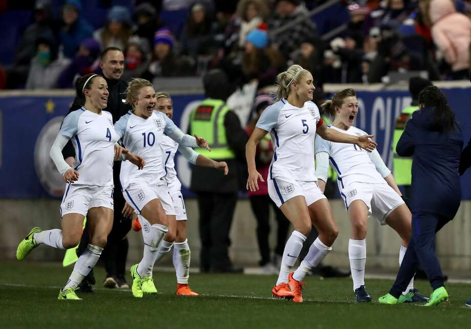 HARRISON, NJ - MARCH 04:  Ellen White #11 of England celebrates her goal with teammates Steph Houghton #5,Izzy Christiansen #10 and Lucy Bronze #4 in the second half against the United States during the SheBelieves Cup at Red Bull Arena on March 4, 2017 in Harrison, New Jersey.England defeated the USA 1-0.  (Photo by Elsa/Getty Images) Photo: Elsa/Getty Images