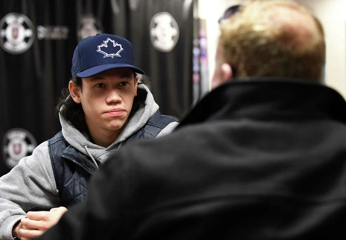 Union College hockey player Spencer Foo is interviewed by Tim Wilkin on Thursday, March 2, 2017, at the Messa Rink Achilles Center in Schenectady, N.Y. (Will Waldron/Times Union)