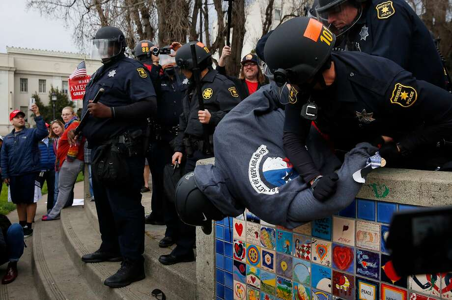 Violence broke out during a pro-Trump rally in Berkeley in March. Photo: Leah Millis, The Chronicle