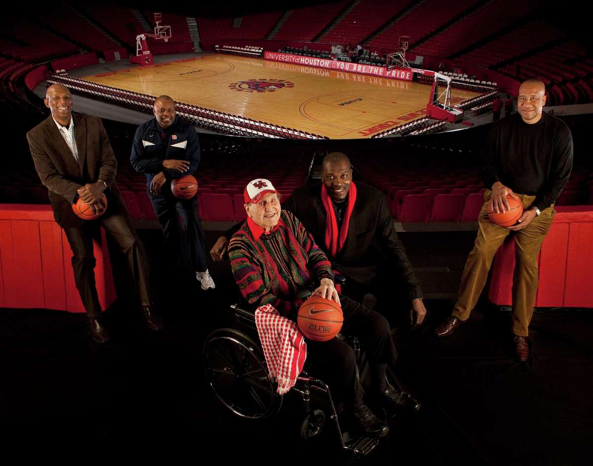 Phi Slama Jama members (from left) Clyde Drexler, Michael Young. Hakeem Olajuwon and Larry Micheau join Hall of Fame coach Guy V. Lewis in 2011. Thirty-five years after UH last played in a national championship game, those iconic Cougars teams continue to capture fans' imaginations.