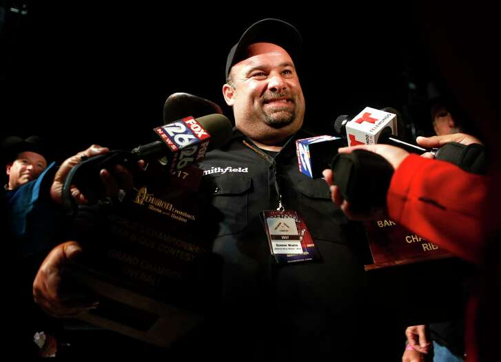 Darren Warth is interviewed after winning Grand Champion at the World's Championship Bar-B-Que Cookoff on Saturday, March 4, 2017, at the Houston Livestock Show and Rodeo. (Annie Mulligan / Freelance)