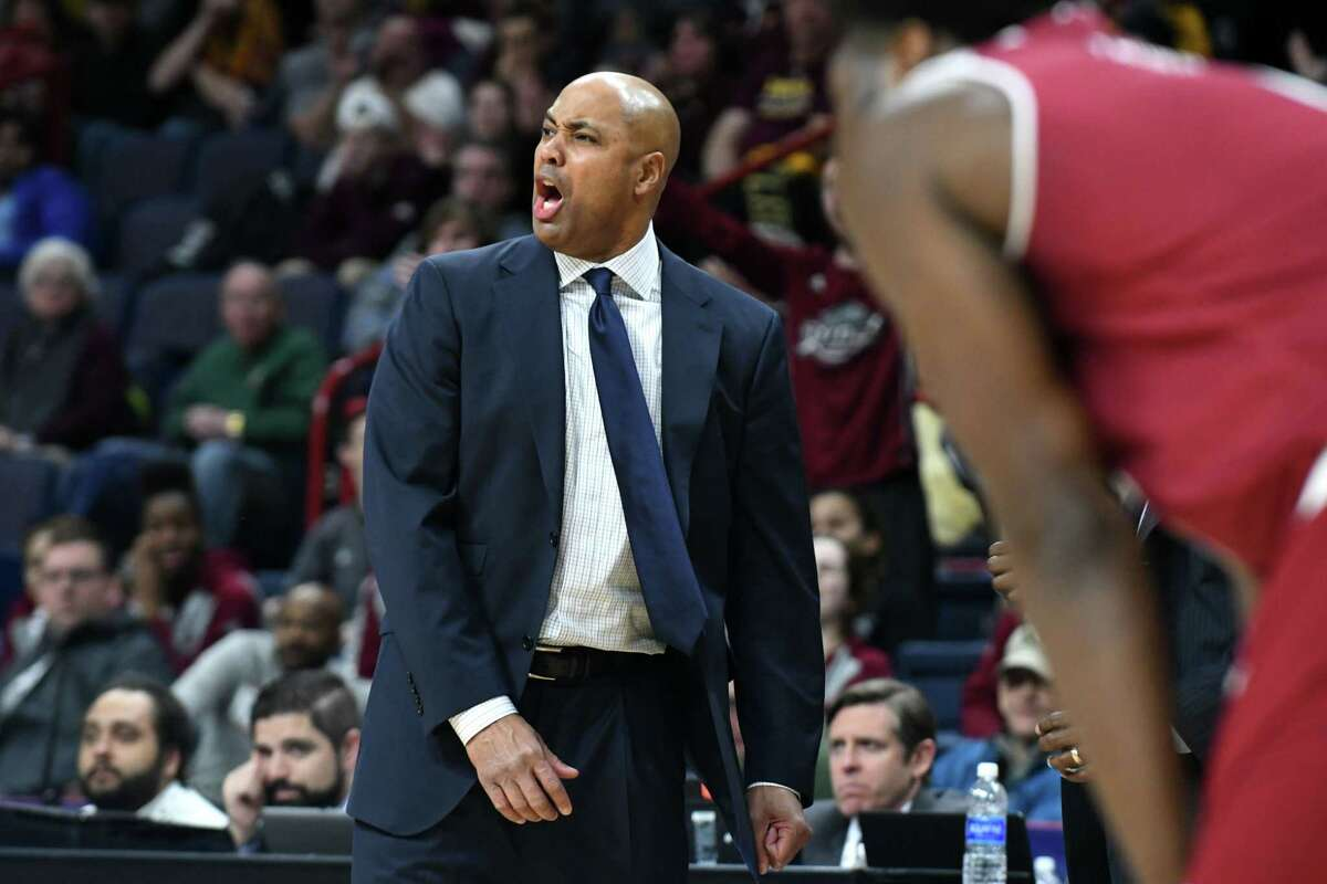 Rider coach Kevin Baggett reacts as his side battles against Iona during MAAC quarterfinals at the Times Union Center on Saturday night, March 4, 2017, in Albany, N.Y. (Will Waldron/Times Union)