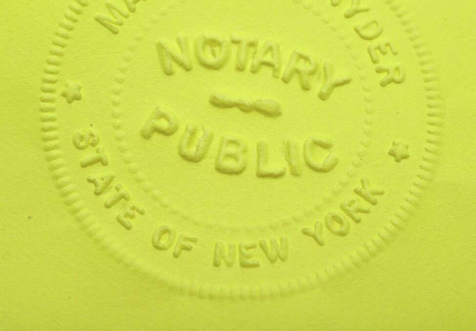 New York notary embossed seal on Tuesday, Feb. 21, 2017, at the Times Union in Colonie, N.Y. (Will Waldron/Times Union)