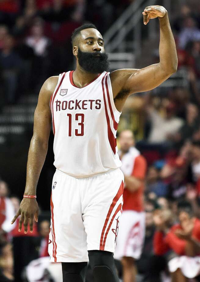 Houston Rockets guard James Harden reacts after making a 3-pointer during the second half of the team's NBA basketball game against the Memphis Grizzlies, Saturday, March 4, 2017, in Houston. Houston won 123-108. (AP Photo/Eric Christian Smith) Photo: Eric Christian Smith/Associated Press