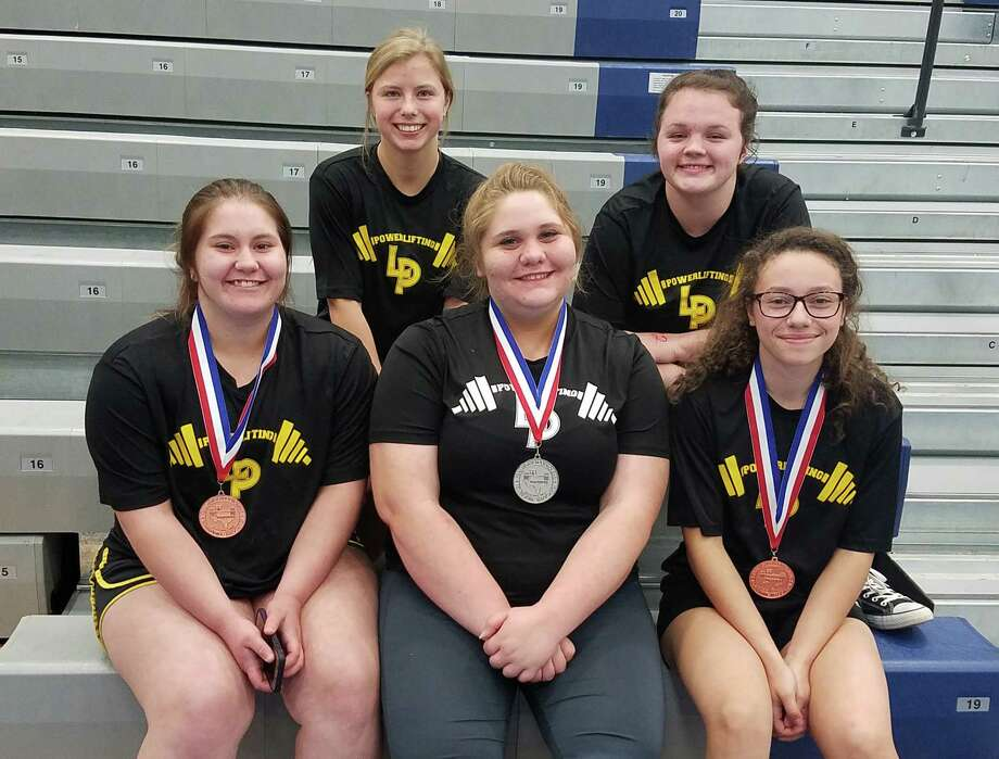 The Liberty High School Girls Powerlifting team traveled to Edna to compete in the Regional meet. The girls competed well against the best the region had to offer and finished 8th in the region. Lark Walker finished sixth place in the 123-pound weight class and her teammate Bronwyn Culton finished fourth in the same division. Mariah Bunfill finished in third place in the 259-pound weight class and Hannah Hill grabbed second place in the same division. Hannah earned a place at the state meet. Photo: Submitted