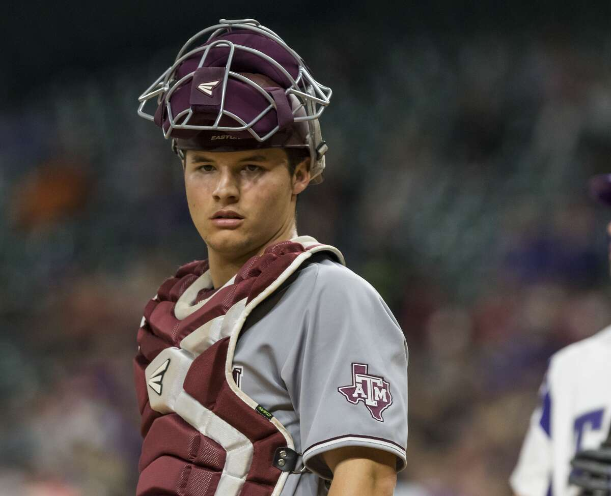 Texas A&M catcher Hunter Coleman (10) looks over to the A&M dugout during a NCAA baseball game at Minute Maid Park on Saturday, Mar. 4, 2017, in Houston. (Joe Buvid / For the Houston Chronicle)
