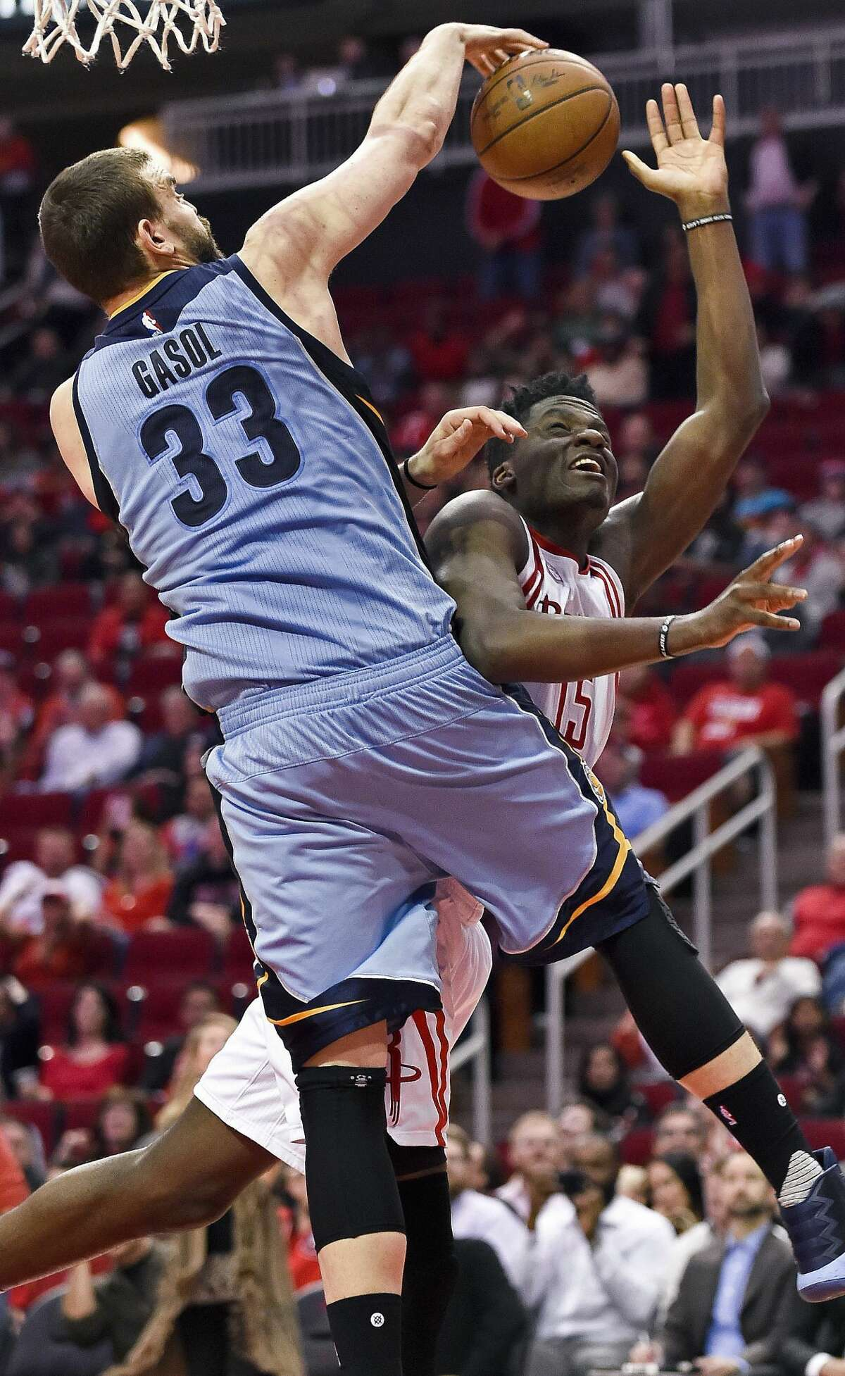 Memphis Grizzlies center Marc Gasol (33) blocks the shot of Houston Rockets center Clint Capela during the second half of an NBA basketball game, Saturday, March 4, 2017, in Houston. Houston won 123-108. (AP Photo/Eric Christian Smith)