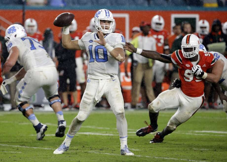 "1. Mitch Trubisky, North Carolina: He's a stretch at no. 2 overall, but ""Biscuit"" as he's known, has it all. Size (6-3, 220), mobility, arm strength, smarts (Academic All-ACC) and mostly, ACCURACY. But he only started for one year, and he sometimes struggles against the blitz. Photo: Lynne Sladky, Associated Press"