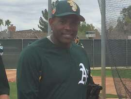 Santiago Casilla's first day of spring training with the Oakland Athletics at Hohokam Stadium in Mesa, Ariz., on March 5, 2017.