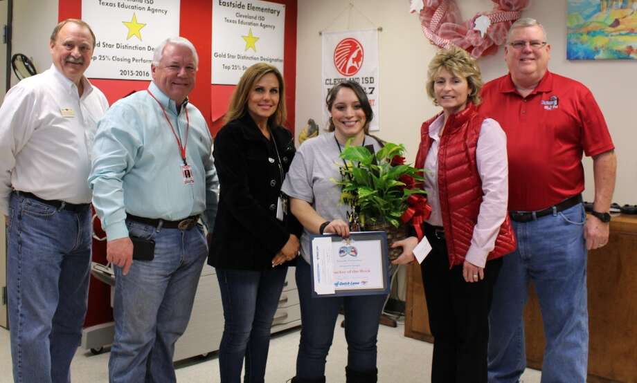 Jacquelin Rangel is the Cleveland ISD Teacher of the week for the week ending March 3. Rangel is a sixth-grade math and science teacher and is in her first year at Cleveland ISD. She received her bachelor of science degree at Texas State University and has a certification in EC-6th Generalist. She comes from a line of educators with her mother and grandmother both teaching. Pictured left to right are Mike with Anderson Ford, CISD Superintendent Dr. Darrell Myers, Eastside Principal Sheila Stephens, Rangel, Deputy Superintendent Pennee Hall and Jeff McClain with KORG radio. The weekly contest is sponsored by Anderson Ford, Quick Lane Tire and Auto, Chef's House, KORG radio and Easy Street Florist. Photo: Submitted