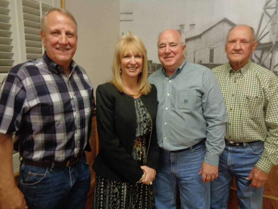 The Dayton ISD Sports Hall of Fame was the topic of a Feb. 27 meeting of the Dayton Historical Society. Making the presentation were (left to right) Alan Conner, Dr. Jessica Johnson, Larry Wadzeck and Lester Ray Wisegerber. Photo: Submitted