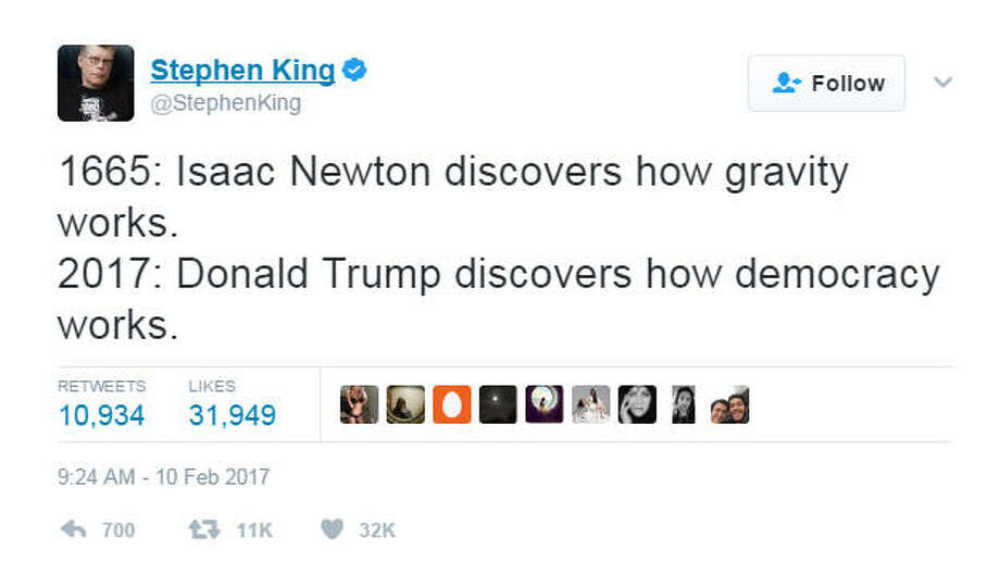 Horror writer Stephen King is known for creating realistic, yet also terrifying worlds in his stories. King, who lives in Maine, has taken to Twitter to document what he sees as a real life horror story playing out before us - Donald Trump's presidency. King has been trolling Trump for months. It isn't known of Trump has seen the tweets or not, but King persists.>>>Scroll through the gallery to see some of Stephen Kings Twitter taunts of Donald Trump Photo: Twitter